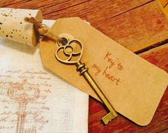 Key to my heart, 8th anniversary gift, bronze anniversary gift, Wine gift, engagement gift, antique key, wedding gift, rustic wedding
