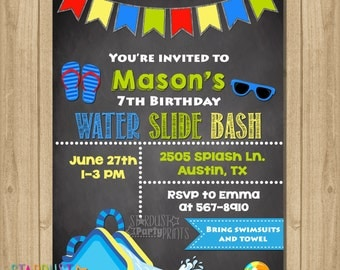 Water Slide Invitation, Water Slide Birthday Invitation, Water Slide Party Invitation