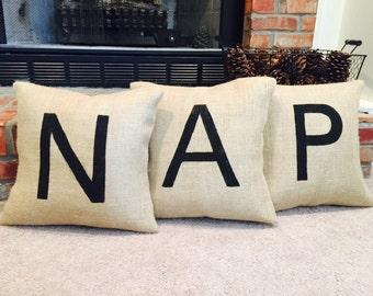 16x16 Single Monogram Burlap Pillow