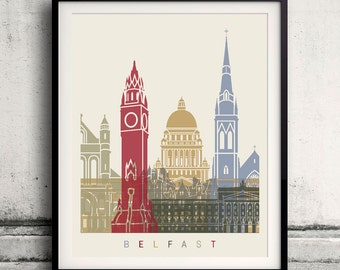 Belfast skyline poster - Fine Art Print Landmarks skyline Poster Gift Illustration Artistic Colorful Landmarks - SKU 1473