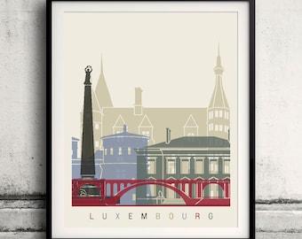 Luxembourg skyline poster - Fine Art Print Landmarks skyline Poster Gift Illustration Artistic Colorful Landmarks - SKU 1844