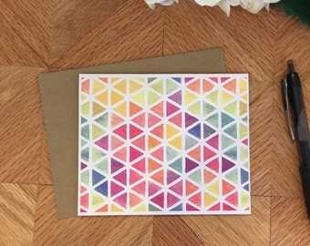 folded notecards, set of 4 with envelopes, geometric pattern
