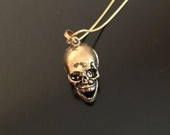 Brass skull pill box pendant necklace