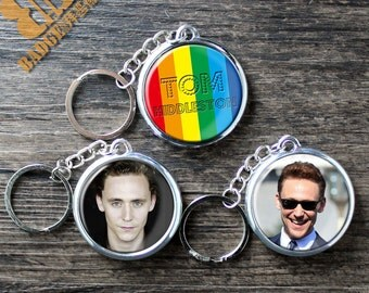"""TOM HIDDLESTON inspired DIY keychain 1.7"""" Thor Loki The Avengers movie fandom button pin magnet The Night Manager I saw the light"""