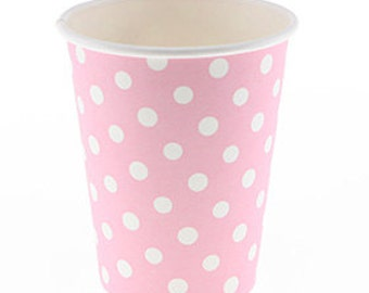 Party Cups | Pink Paper Cups | Polka Dor Cups | Cups | Pink Party | Pink with White Polkadots | 12 per pack | Baby Shower