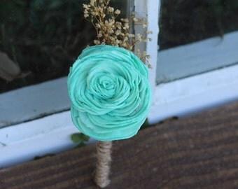 sola carnation, Sola flowers,boutonniere, buttonhole, sola bouquet, rustic, rustic wedding, groomsmen, groom, groom flower