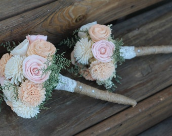 Vintage Rose Collection, Featuring Muted Peach, Sola Bouquet, Wedding Bouquet, Bridal Bouquet, Vintage Wedding, Rustic wedding