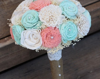 Coral and Mint Bouquet, Sola Bouquet, Wedding Bouquet, Bridal Bouquet, Rustic Country Wedding