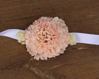 Blush Pink Corsage, Bridal corsage, Mother corsage, wedding corsage, rustic wedding, traditional wedding, chic wedding