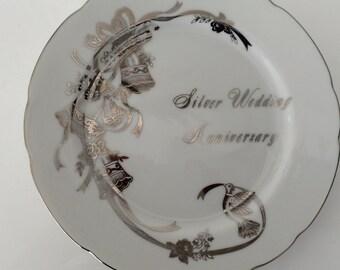 Vintage Silver Anniversary Plate