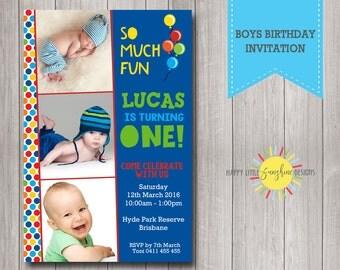 Custom Printable Boy Birthday Photo Invitation 1st Birthday Blue and Colour Polka Dots