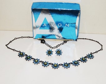 Vintage Avon Rhinestone Necklace/Earring Set.