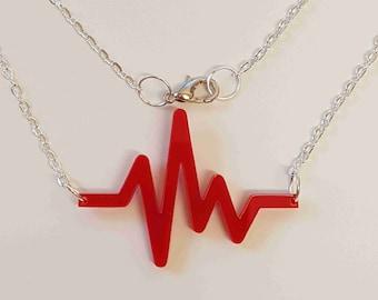 EKG Heartbeat Necklace - Acrylic