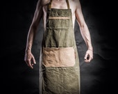 Military Tenting canvas apron with canvas pockets and army adjustable belts by Kruk Garage Work apron Mens apron Mens gift Gift for him