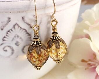 Amber Plump Chunky Czech Glass Dangle Earrings, Vintage Style Jewelry, Statement Earrings