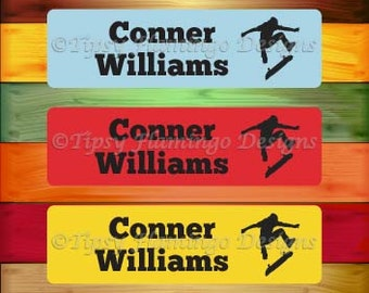 80 Personalized WATERPROOF Stickers, Wateproof Labels, Dishwasher Safe, Daycare Name Tag Stickers, School, Summer Camp, Skateboard-TFD525