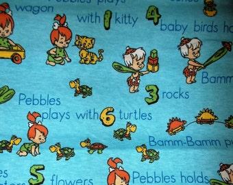 "Flintstones Pebbles & Bamm-Bam RARE Jersey/Knit Fabric ~Blue Background~ 28""x62"""