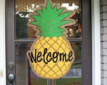 Pineapple Burlap Door Hanger