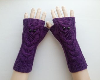 EXPRESS SHİPPİNG!Purple Owl Hand-Knitted Fingerless Gloves/Winter Accessories/ReyyanCrochet