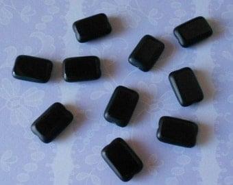 10 Czech glass rectangle beads, black