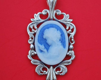 925 Sterling Silver Blue Cameo Carved Lady Pendant