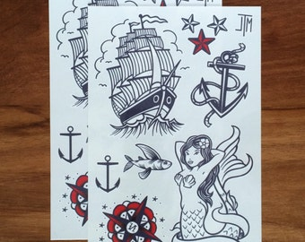Temporary tattoos - Swashbuckler set // Anchor tattoo  // Party Gift Bags