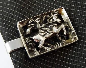 """Vintage Tie Clip Bar Colonial Horseman Horse Rider Silver Tone 1.25"""""""