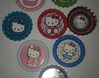 7 Hello Kitty bottle cap buttons pins badges party favor gift