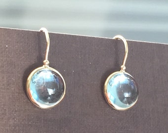 14k solid yellow gold and sky blue topaz cabochon earrings, gemstones