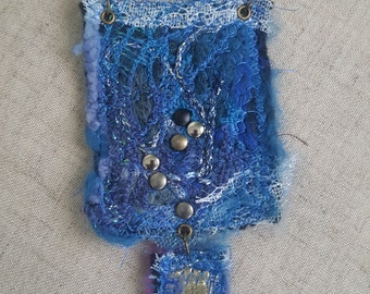 Fabric necklaced, Fiber Necklace, Blue necklace,