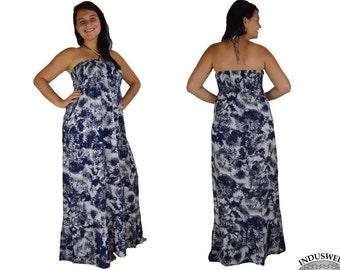 Long Dress Maternity Dress in blue white