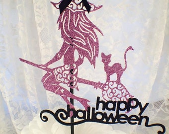 Halloween Witch Cake Topper - Halloween Party Decorations - Witch Cake Topper - Witch and Cake - Custom - Happy Halloween - Witch Decoration