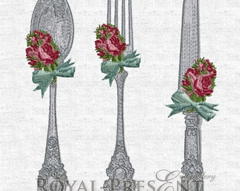 Machine Embroidery Designs VINTAGE CUTLERY – 3 in 1