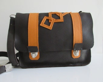 Brown and orange leather Crossbody bag.