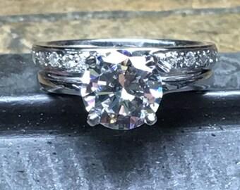 Engagement Ring Set, Wedding Ring Set, Diamond Engagement Ring Set, CZ Engagement Ring Set, 2.00 ct. CZ Engagement Ring, CZ Wedding Band