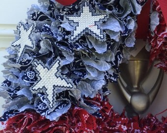 Americana, 4th of July, Patriotic, Red White Blue, Bandana Wreath, Cross Stitch Star Accents