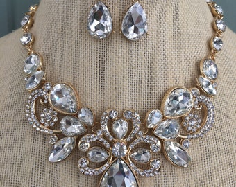 Clear Rhinestone Victorian Downton Abbey Vintage Style Statement Necklace and Earring Set...Wedding / Prom / Evening / Bride