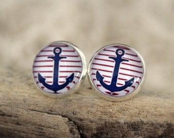 "Ear studs ""anchor"", striped"