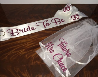 Bridal Veil Bridal Sash Set, Veil & Sash Set, FREE PERSONALIZATION - Comes in an array of colors - Large Sash Bows available  By Val's Veils