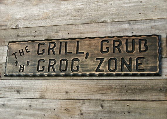 Man Cave Bbq Signs : Bbq sign patio decor man cave barbeque custom by claricesattic