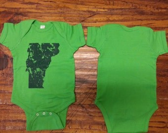 Vermont Onesie - VT Distressed State Bodysuit - Toddler clothing - vermont clothes - vermont kids clothes - UVM kid clothes