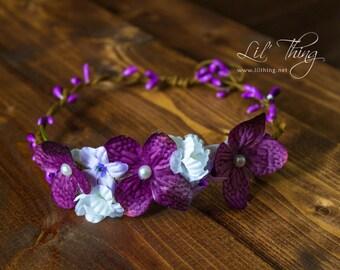 Flower crown, newborn flower crown, flower girl halo, flower headband, wedding crown, flower girl halo