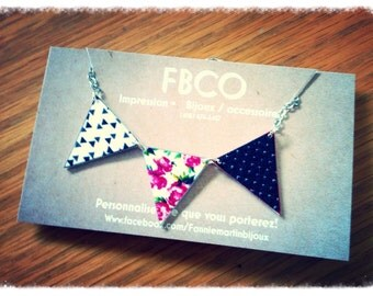 Necklace romantic pink pennants