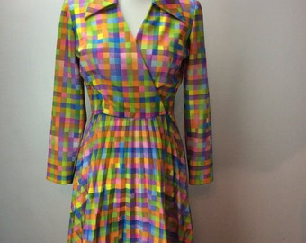 1970's Pleated Pastel Colorblock polyester vintage dress butterfly collar