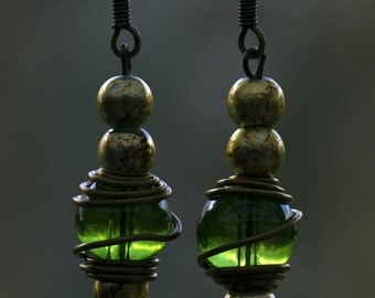 Jade lantern earrings