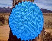 Blue Ripple Screen Print on Die-Cut Wood
