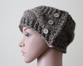 """Headband""""Fraya""""Hand knitted/Cable Patters/3 Wooden Buttons/Thick Yarn/Arcylic-Wool"""
