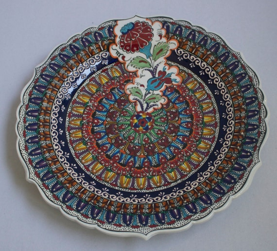Family Design Hand Made Turkish Ceramic Plate, Serving Platter, Rose Design,Colorful Wall Hanging Plate, Hand Painted Ceramic Dining Plates.
