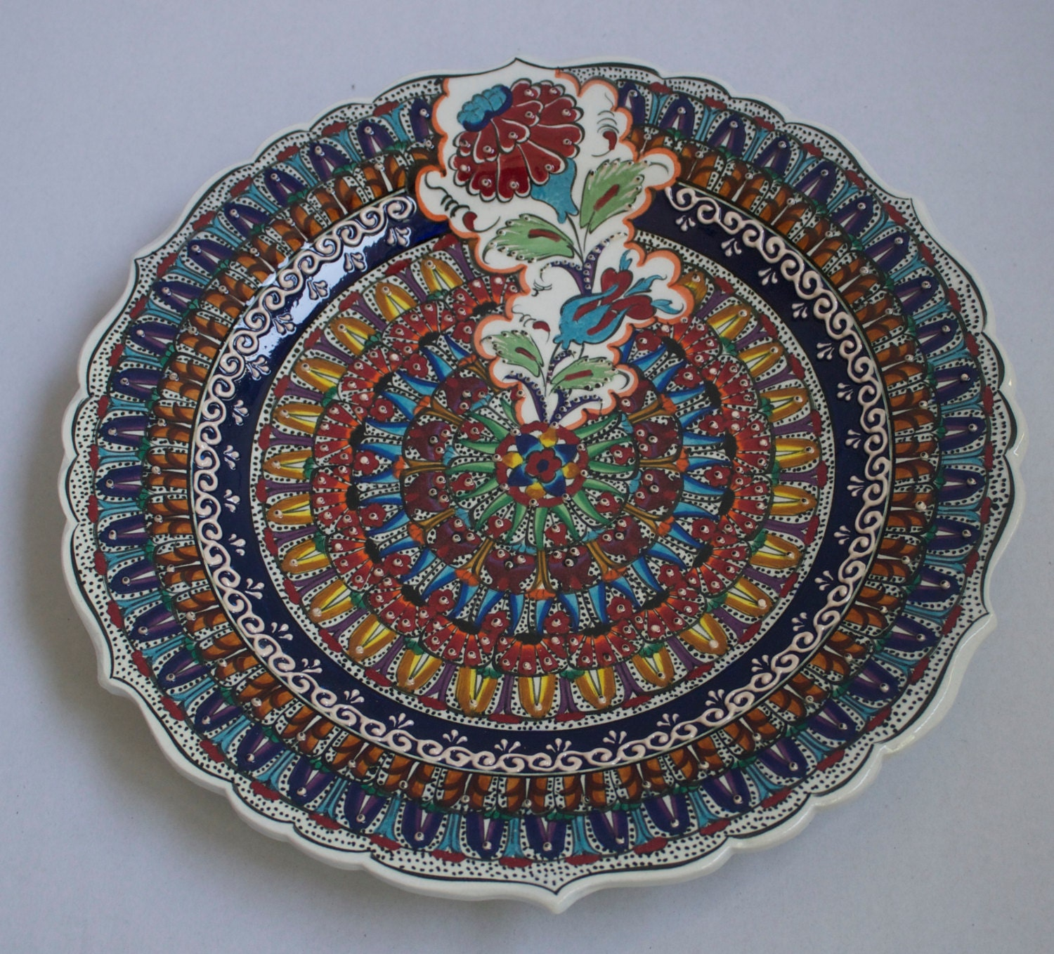 Family Design Hand Made Turkish Ceramic Plate Serving