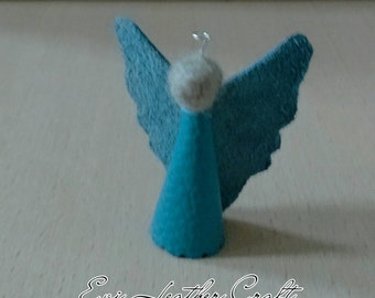Christmas angel / leather angel decoration / Christmas tree angel decor / phone chain / blue